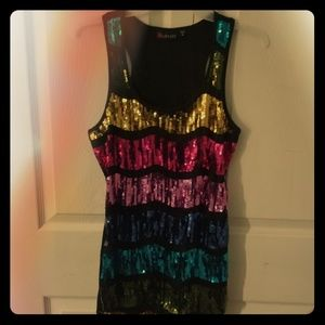 Tops - Womens Sequined Tank Top